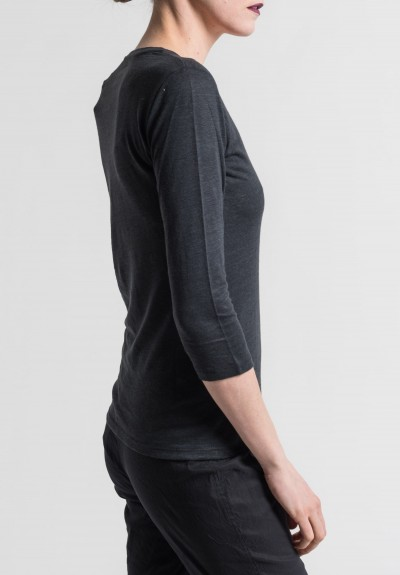 Majestic Linen/Silk V-Neck Long Sleeve Tee in Noir