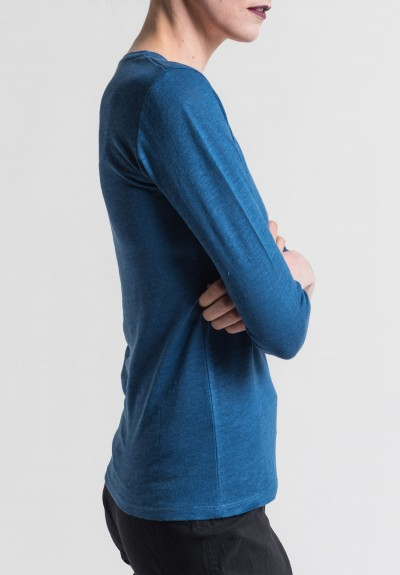 Majestic Linen/Silk V-Neck Long Sleeve Tee in Indigo Blue