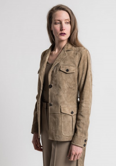 Pauw Belted Suede Jacket in Sand