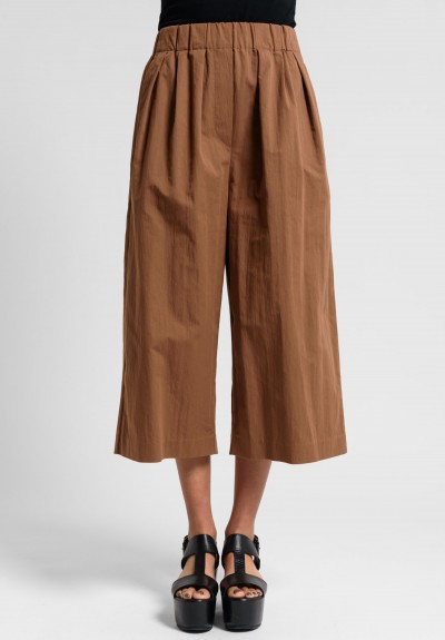 Brunello Cucinelli Cotton Gaucho Pants in Caramel