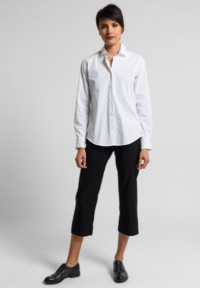 Peter O. Mahler Lightweight Stretch Linen Cropped Pants in Black