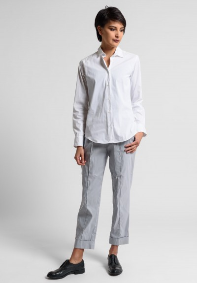 Peter O. Mahler Stretch Linen Cuffed Pin Tuck Pants in Metal