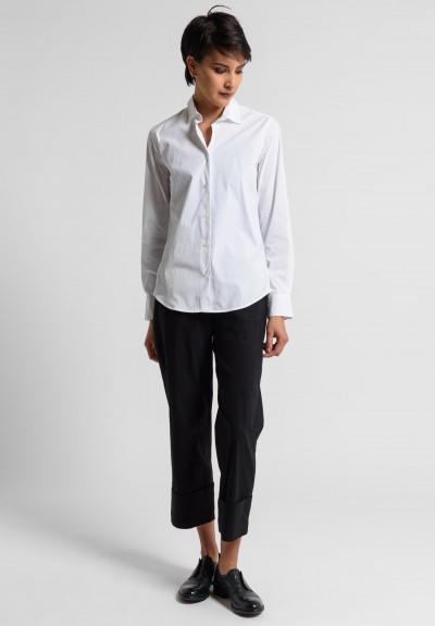 Peter O. Mahler Stretch Linen Cuffed Cropped Pants in Black
