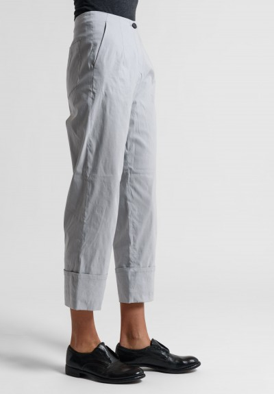 Peter O. Mahler Stretch Linen Cuffed Cropped Pants in Metal