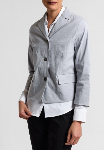 Peter O. Mahler 2-Layered Stretch Linen Short Jacket in Metal