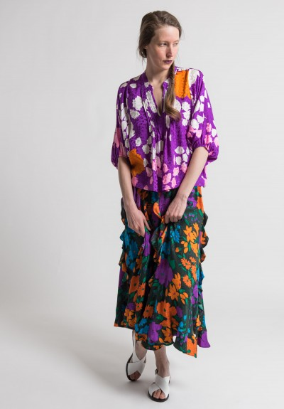 Warm Silk Jacquard Jungle Skirt in Jungle