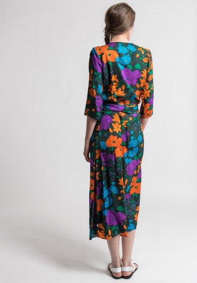 Warm Silk Jacquard Eden Wrap Dress in Jungle