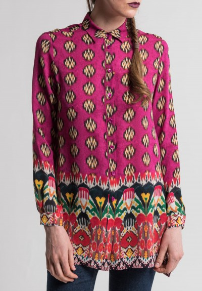 Etro Silk Ikat Print Shirt in Pink