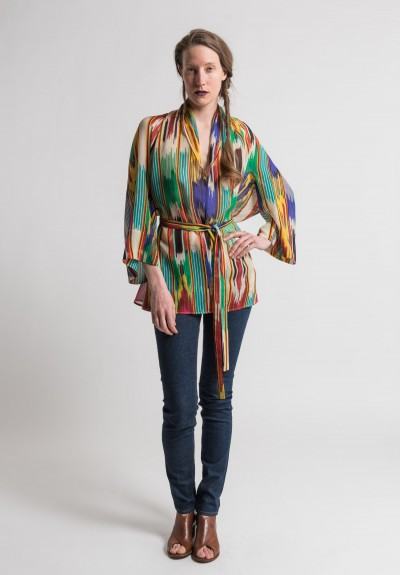 Etro Sheer Silk Ikat Print Top in Multi