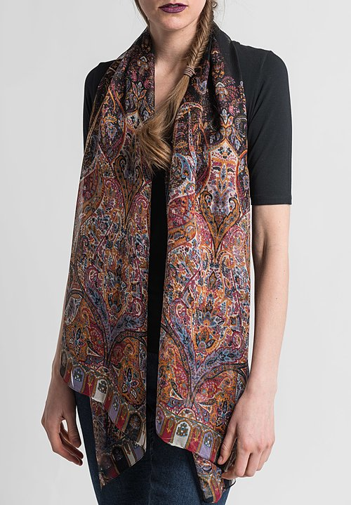 Etro Printed Mesh Weave Scarf in Black