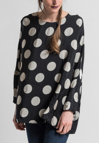 Casey Casey Emmaus Polka Dot Top in Pois Black