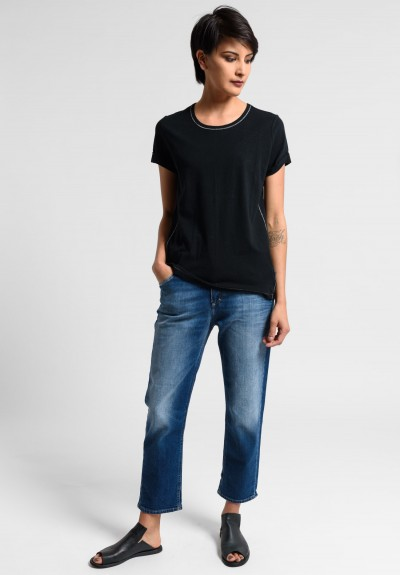 Paychi Guh Linen/Cotton Relaxed Baby Tee in Black