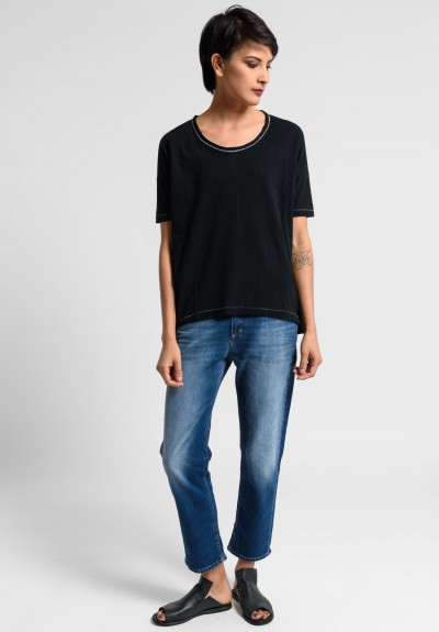 Paychi Guh Linen/Cotton Relaxed Boxy Tee in Black
