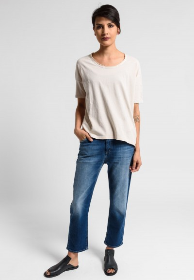 Paychi Guh Linen/Cotton Relaxed Boxy Tee in Nude