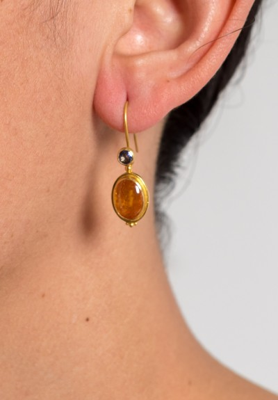 Kimarie Designs 18k Gold, Tanzanite, & Spessartite Garnet Earrings