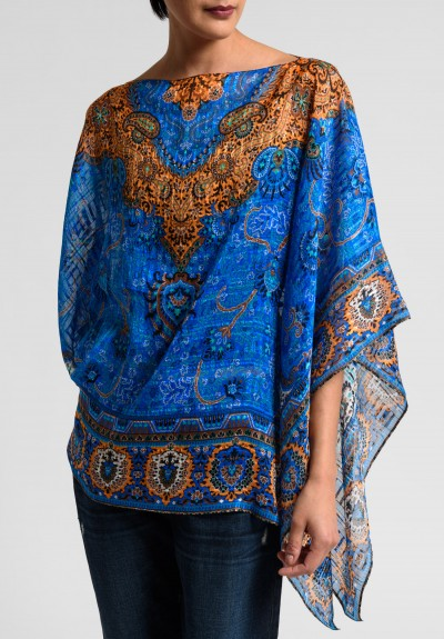 Etro Runway Silk Paisley Poncho in Blue