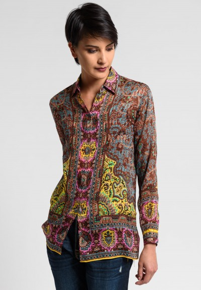 Etro Runway Sheer Silk Paisley Blouse in Brown