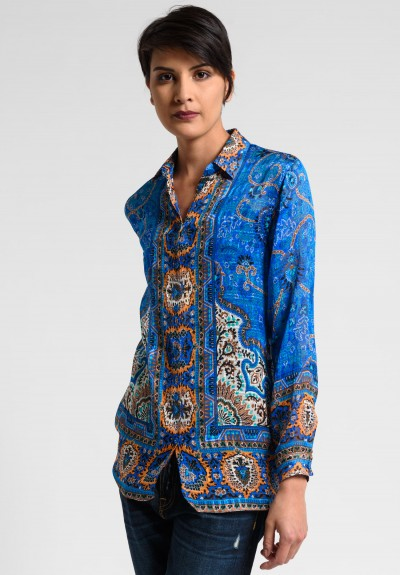 Etro Runway Sheer Silk Paisley Blouse in Blue