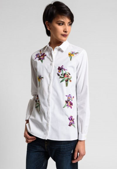 Etro Floral Embroidered and Beaded Cotton Shirt in White