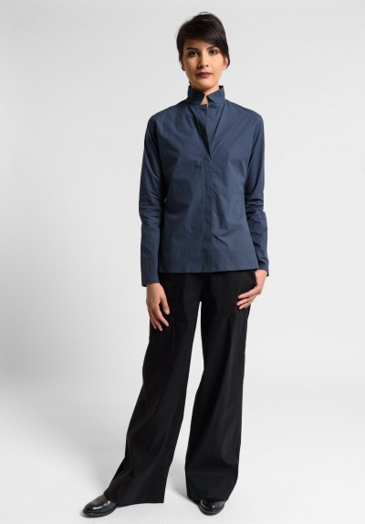 Lareida Cotton Stand Collar Catharina Shirt in Ebony