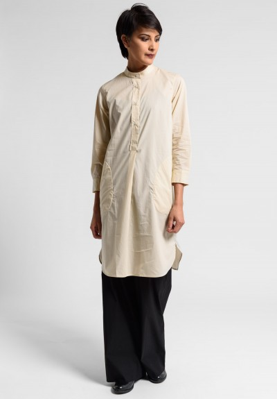 Lareida Cotton Parisienne Band Collar Tunic in Sand Stone