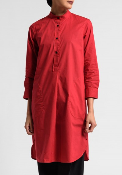 Lareida Cotton Parisienne Band Collar Tunic in Tomato