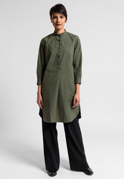 Lareida Parisienne Band Collar Tunic in Palm Green