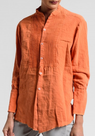 Greg Lauren Linen Square Bib Tux Shirt in Orange