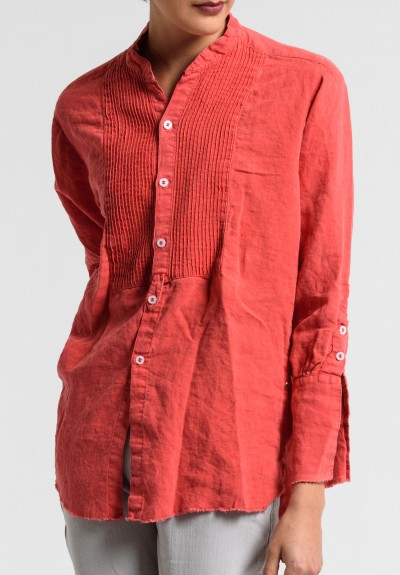 Greg Lauren Linen Square Bib Tux Shirt in Red