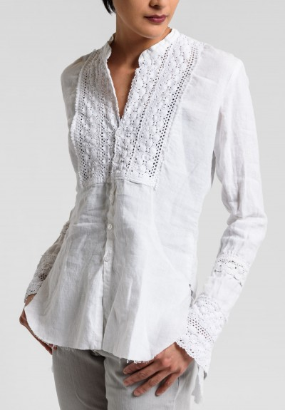 Greg Lauren Linen Eyelet Bib Tux Shirt in White
