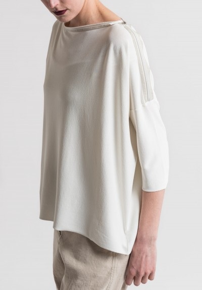 Annette Görtz Zipper Neckline Sea Top in Off White