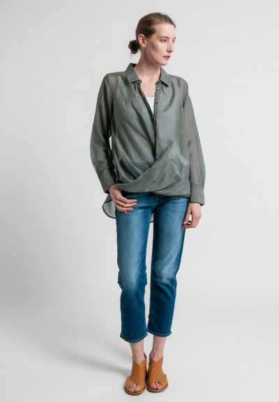 Nicholas K Cotton/Silk Ritz Drape Shirt in Granite