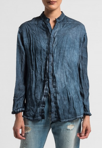 Umit Unal Silk Overdyed Blouse in Indigo