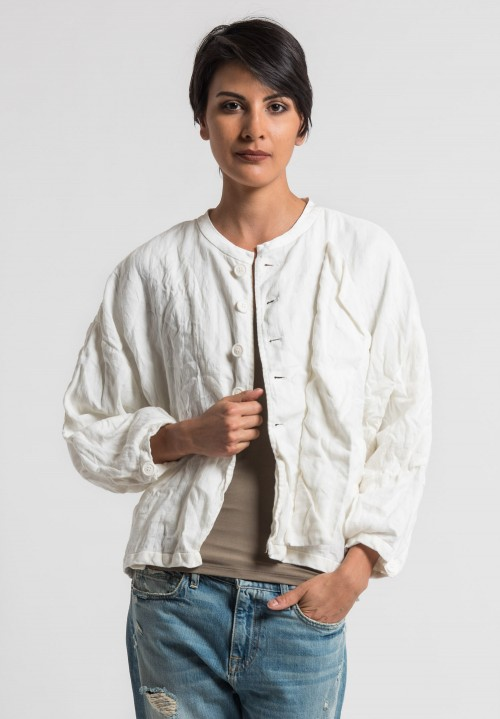 Umit Unal Linen Dolman Sleeve Jacket in Off White