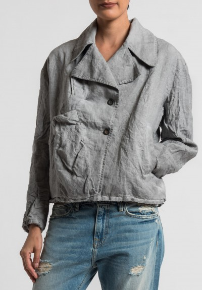Umit Unal Linen Notch Lapel Jacket in Light Grey