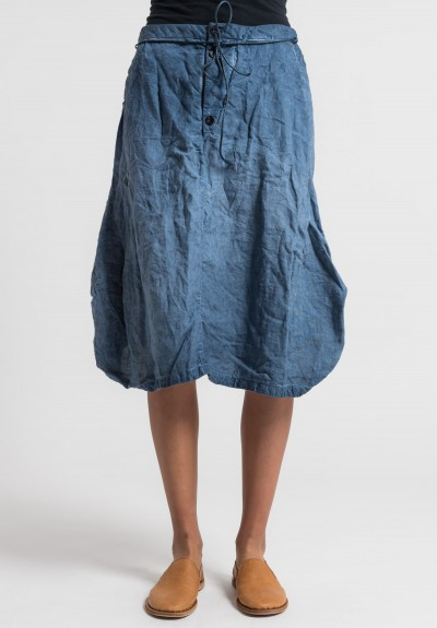 Umit Unal Linen Overdyed Tulip Skirt in Indigo Navy