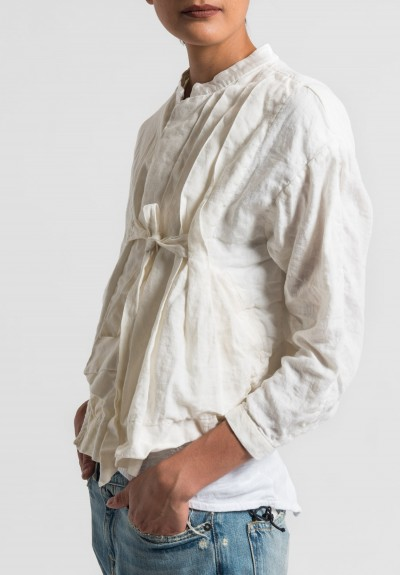 Umit Unal Linen Pleat and Tie Front Jacket in Off White
