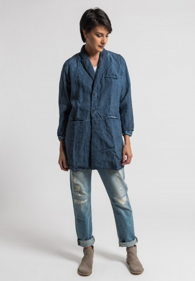 Umit Unal Linen Overdyed Long Jacket in Indigo