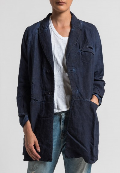 Umit Unal Linen Overdyed Long Jacket in Dark Navy
