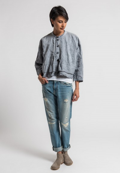 Umit Unal Linen Boxy Short Jacket in Light Grey