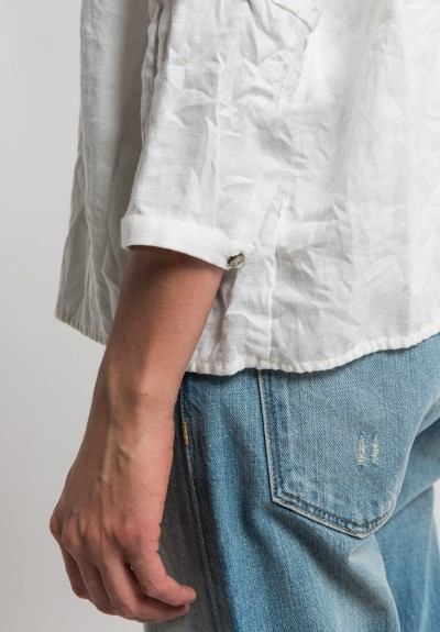 Umit Unal Linen Oversize Shirt in Off White