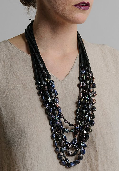 Monies UNIQUE Pearls & Leather Multi Strand Necklace