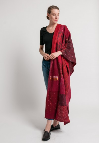 Mieko Mintz Brocade Patched 2-Layer Large Shawl in Red/Gold