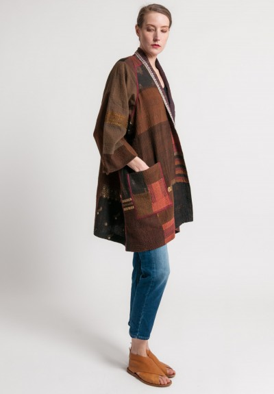 Mieko Mintz 2-Layer Vintage Cotton Brocade Patch A-Line Jacket in Brown