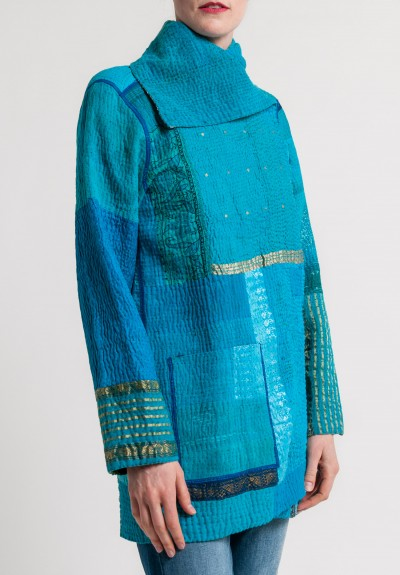 Mieko Mintz 4-Layer Vintage Cotton/Silk Brocade Patched Pocket Jacket in Turquoise