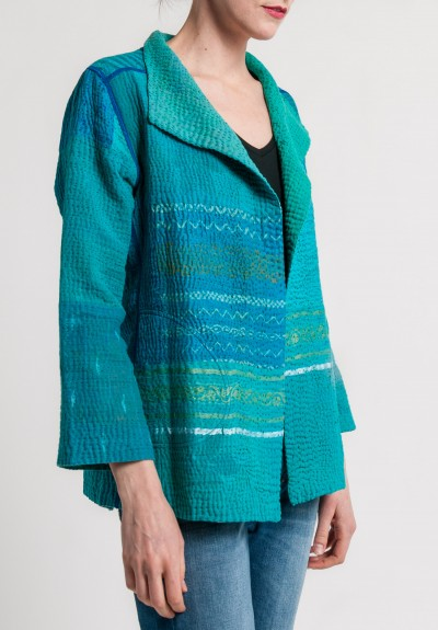 Mieko Mintz 4-Layer Vintage Cotton/Silk Brocade Patched Short Jacket in Turquoise