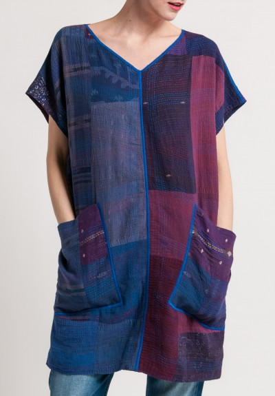 Mieko Mintz 2-Layer Brocade Patched French Sleeve Tunic in Purple