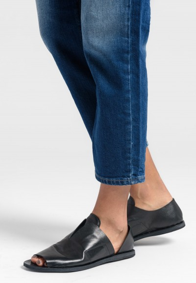 Officine Creative Irmine Open Toe Slip On Shoe in Nero