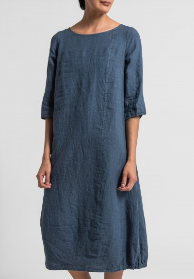 Oska Linen Tuyet Dress in Denim
