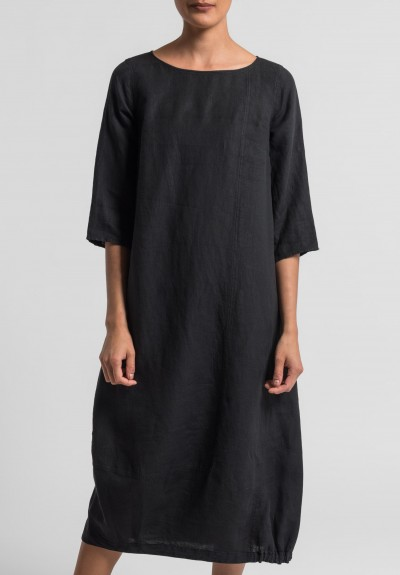 Oska Linen Tuyet Dress in Black